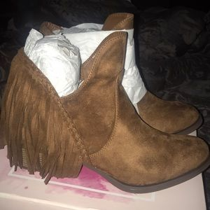 Faux suede brown fringe booties